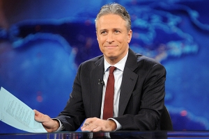 "FILE - This Nov. 30, 2011 file photo shows television host Jon Stewart during a taping of ""The Daily Show with Jon Stewart"" in New York. The 18th edition of ""Bartlett's Familiar Quotations,"" has just been released, the first for the electronic age and a chance to take in some of the new faces, events and catchphrases of the past 10 years. General editor Geoffrey O'Brien says he has expanded upon the trend set by his predecessor, Justin Kaplan, of incorporating popular culture into an anthology once known for classical citations. Shakespeare and the Bible still reign, but room also has been made for Steve Jobs, Madonna and Michael Moore, Justin Timberlake and Jon Stewart. (AP Photo/Brad Barket, file)"